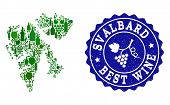 Vector Collage Of Wine Map Of Svalbard Islands And Best Grape Wine Grunge Seal Stamp. Map Of Svalbar poster