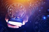 Astrology Smartphone App Concept, Woman Using Mobile Phone, Close Up Of Hands poster