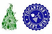 Vector Collage Of Wine Map Of Tocantins State And Best Grape Wine Grunge Seal Stamp. Map Of Tocantin poster