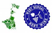 Vector Collage Of Wine Map Of West Bengal State And Best Grape Wine Grunge Watermark. Map Of West Be poster