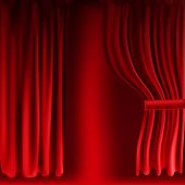 Realistic Colorful Red Velvet Curtain Folded. Option Curtain At Home In The Cinema. Vector Illustrat poster