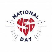 Vintage Emblem National Hug Day With Letter Hug Shaped Love And Hand. Vector Emblem For Element Desi poster