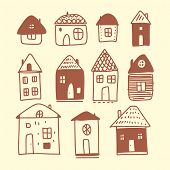 Hand Drawn House Vector Set. Hand Drawn Vector Doodle Illustration Isolated. poster