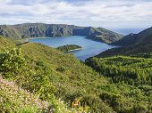 View On Beautiful Blue Crater Lake Lagoa Do Fogo From Viewpoint Miradouro Da Barrosa. Lake Of Fire I poster