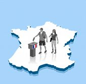 French Protesters Are Voting For Election Over A France 3d Map. All The Objects, Shadows And Backgro poster