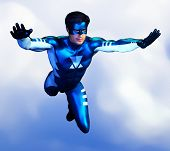 Generic Super Hero Male In Blue And White Costume Flying