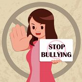 Serious Woman Hold Placard Write Stop Bullying poster