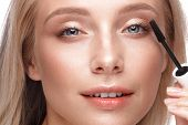 Beautiful Young Girl With A Light Natural Make-up, Mascara And Nude Manicure. Beauty Face. poster