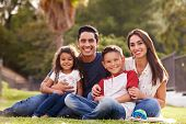 Happy young Hispanic family sitting the on grass in the park smiling to camera, close up poster