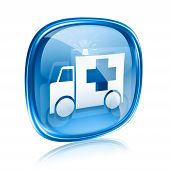 First Aid Icon Blue Glass, Isolated On White Background.