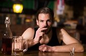 A Regular Alcohol Drinking. Alcohol Addict With Short Alcohol Drink. Alcoholic Man Drinking At Bar C poster