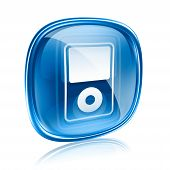 Mp3 Player Blue Glass, Isolated On White Background