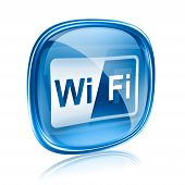 Wi-Fi-Symbol blau Glas, Isolated On White Background