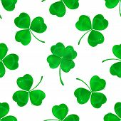 Vector Four-leaf Clover Seamless Pattern Background. Lucky Fower-leafed Green Background For Irish B poster