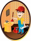 foto of clawfoot  - plumber working in a bath fixing a problem - JPG