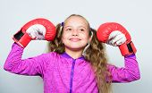 Upbringing For Leader. Strong Child Boxing. Sport And Health Concept. Boxing Sport For Female. Sport poster