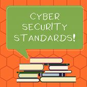 Handwriting Text Cyber Security Standards. Concept Meaning Rules For Organizational Info Security St poster