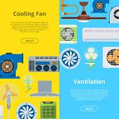 Ventilation Vector Industrial Air Conditioner Heat Cool Conditioning System Technology Illustration  poster