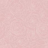 Seamless Pink Background Vintage Pattern With Peony Flowers. Vector Hand Drawn Illustration. Graphic poster