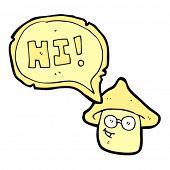 cartoon hippie mushroom saying hi.