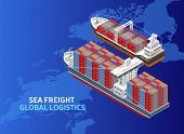 Two Various Ships Located Over World Map As Illustration Of Sea Freight And Global Logistics poster