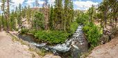 Panorama Of Middle Fork San Joaquin River Within Devils Postpile National Monument, Inyo National Fo poster