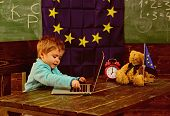Ready For School. Little Boy Use Laptop, Ready For School. Child Ready For School In Classroom With  poster