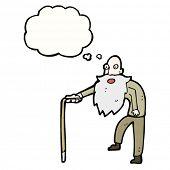 de oude man cartoon met gedachte bubble