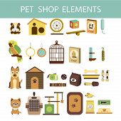 Vector Colorful Collection Of Domestic Mammals, Set Of Pets  Icon. Parrot, Dog, Cat, Hamsters  And G poster