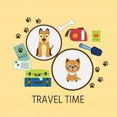 Vector Illustration Whith Text travel Time. Poster Or Banner  Travel With  Pets Animals Transporta poster