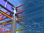 3d Rendering. Bim Model Of Metal Structure. The Building Is Made Of Metal Structures. Building Infor poster