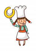 Portrait Of Girl In Chef Uniform Holding Alphabet C