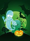 Halloween poster with ghost near grave and jack-o-lantern