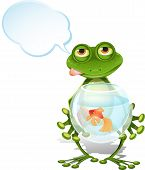 pic of glass frog  - illustration merry green frog and a goldfish - JPG