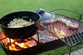 picture of braai  - Braai or barbecue with meat and a cast iron pot over a fire - JPG