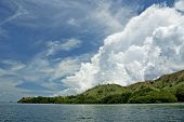 Blue Sky, White Clouds And Green Island poster