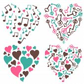 Hearts-notes-keys-set