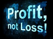 Business concept: pixelated words Profit not Loss on digital scr