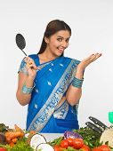 Woman With A Cooking Ladle, Ready To Cook poster