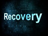 Information technology IT concept: pixelated words Recovery