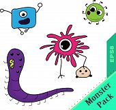 party of bright fantastic monsters microbes om white