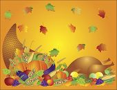 Thanksgiving Day Feast Cornucopia And Turkey Background Illustration