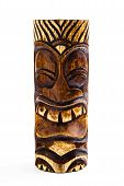 picture of tiki  - A carved wooden tiki statue isolaed on a white background - JPG