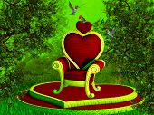 image of throne  - Illustration of a magical throne in a fairy forest - JPG