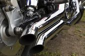 Bike Chromed Double Pipes Are Reflecting