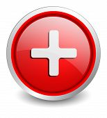 Plus red button - design web icon