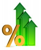 image of going out business sale  - arrows going up and percentage symbol illustration design - JPG