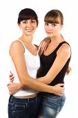 Pretty Mother With Teen Daughter Together Isolated Over White