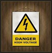 blackboard sign danger high voltage wood