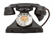 stock photo of rotary dial telephone  - Old bakelite telephone - JPG